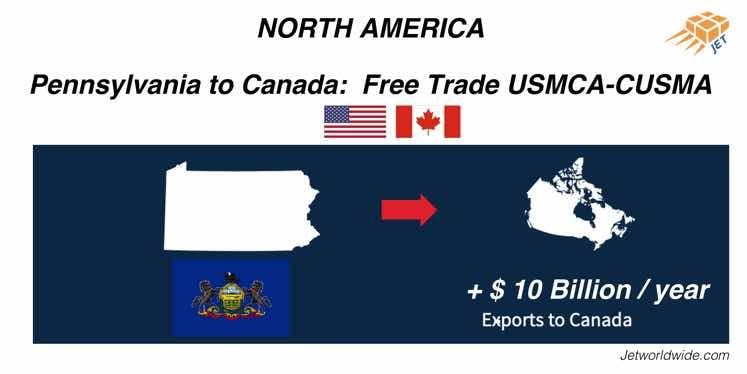 Pennsylvania  Canada USMCA CUSMA graphic